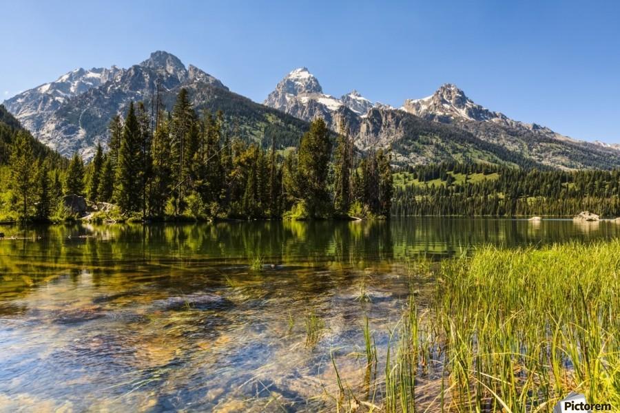 Taggart Lake and Grand Teton, Grand Teton National Park; Wyoming, United States of America  Print