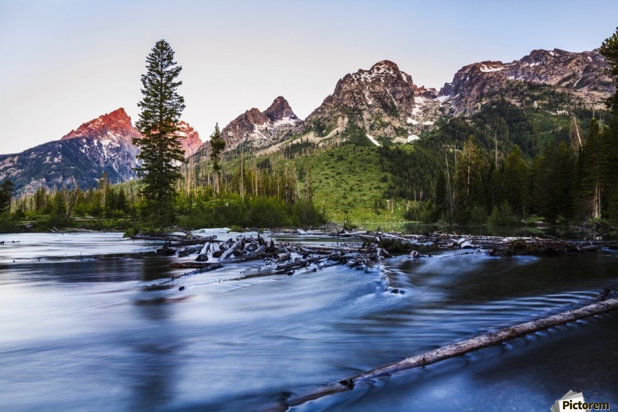 Teton Range and String Lake at sunrise, Grand Teton National Park; Wyoming, United States of America  Print