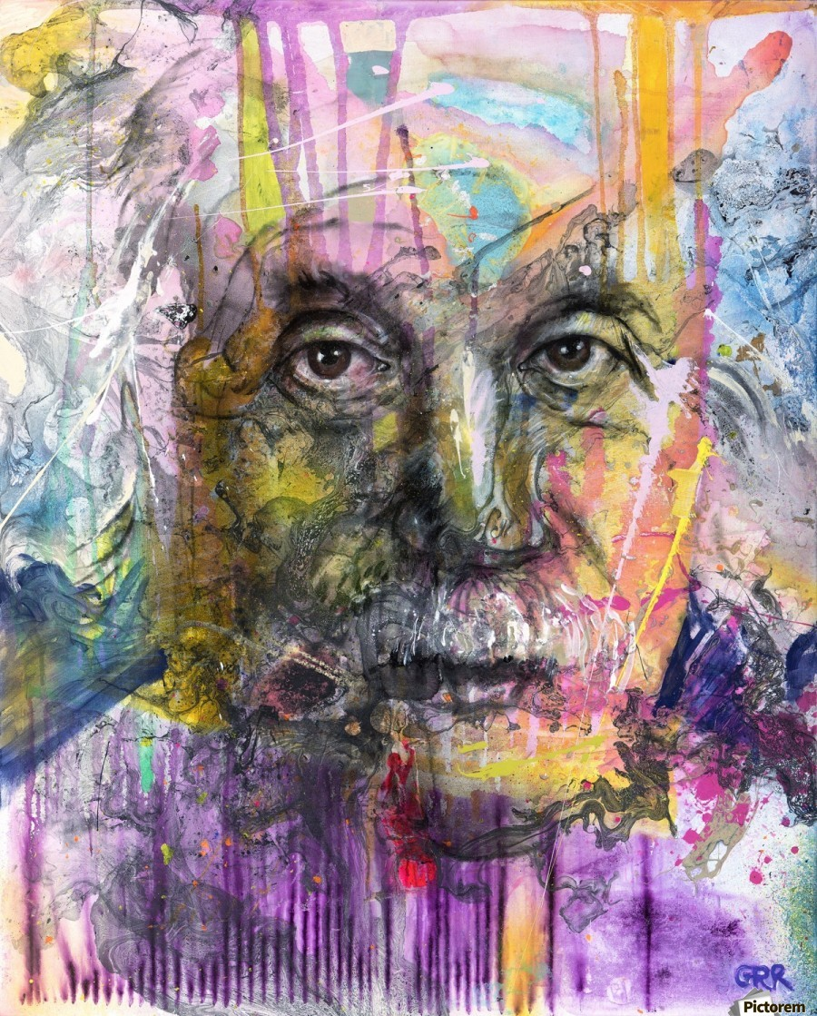 Illustration of a man's face with colourful abstract patterns surrounding it  Print