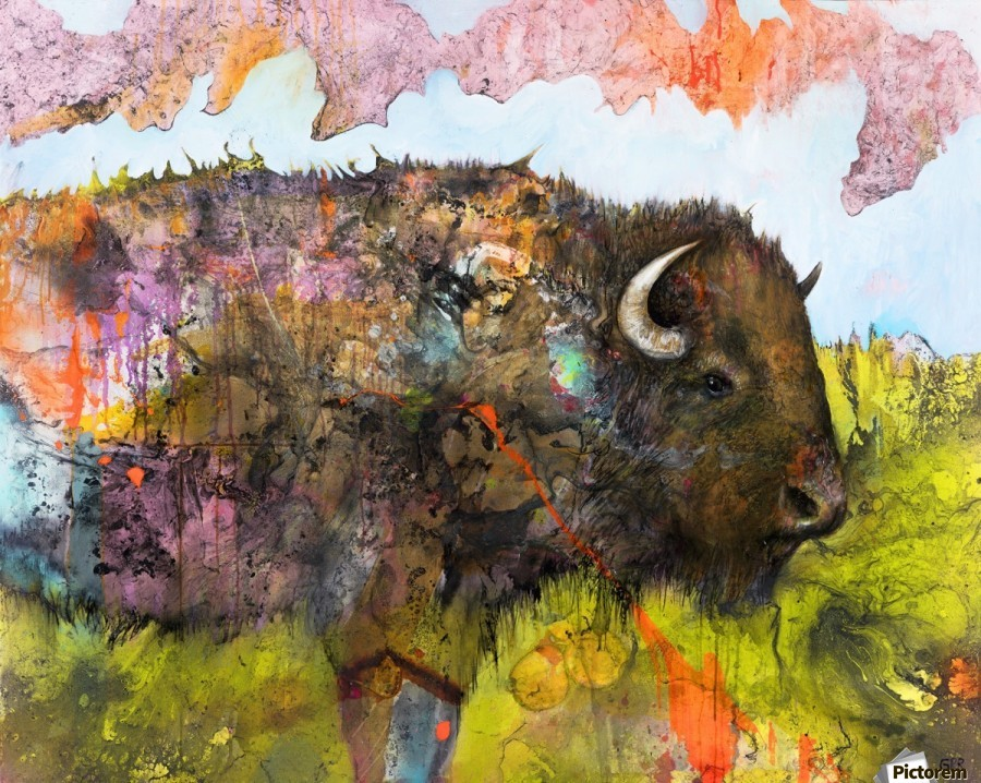 Illustration of a buffalo with colourful splashes and landscape  Print