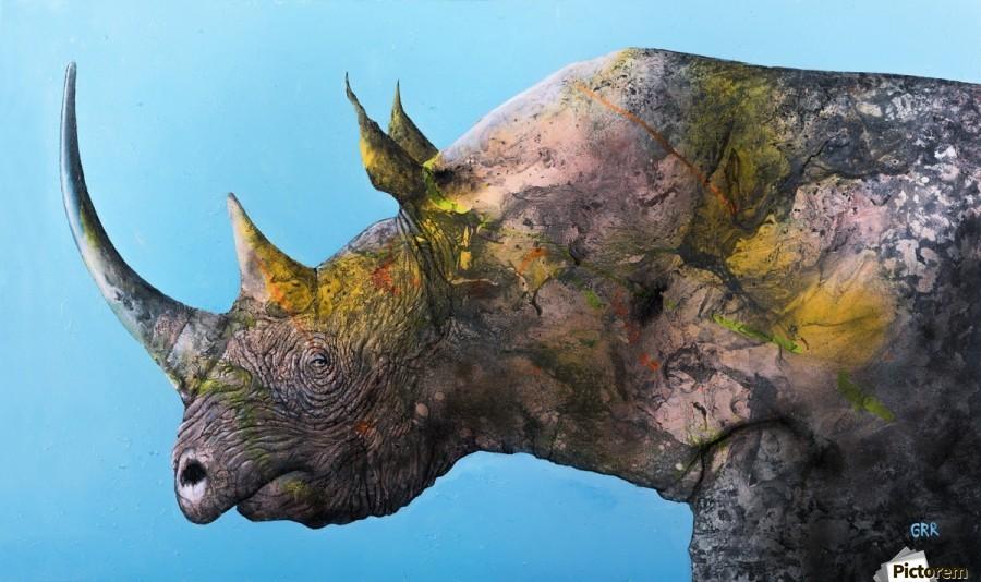 Illustration of a white rhinoceros against a blue background  Imprimer