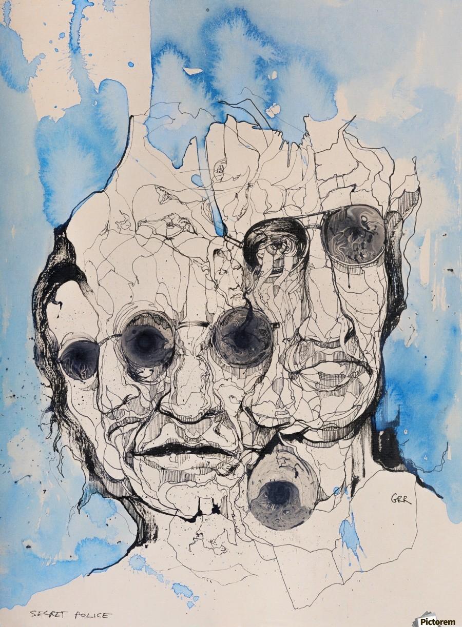 Illustration of a composite of men's faces  Print