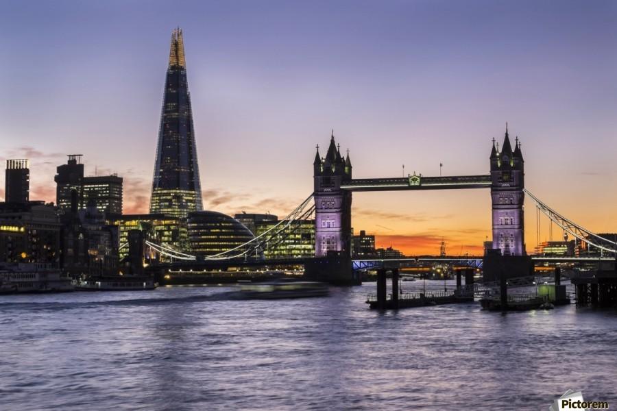Tower Bridge and The Shard at dusk; London, England  Print
