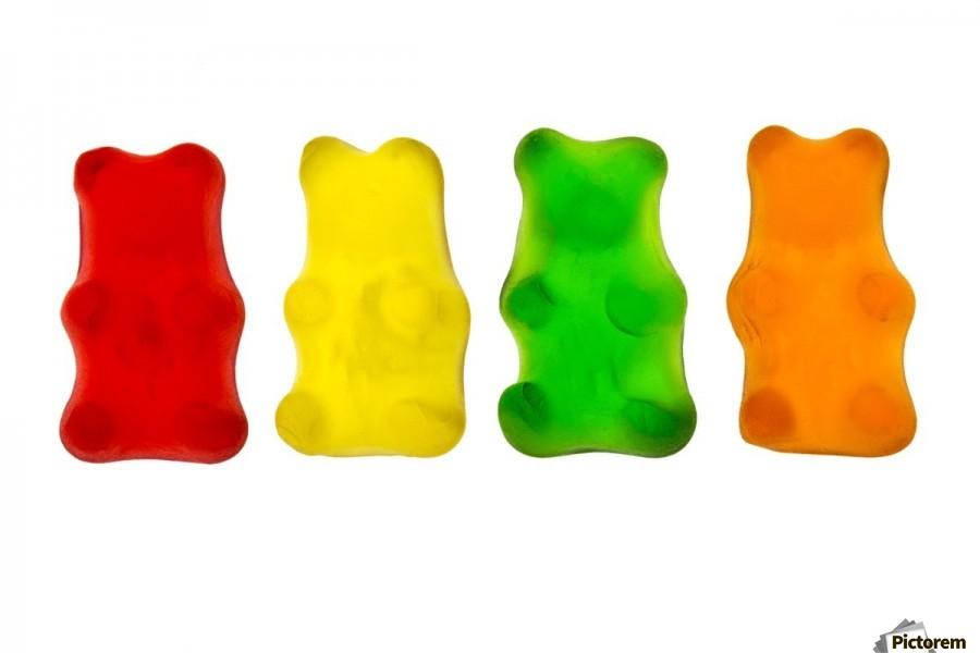 Colourful candied gummy bears in a row backlit; Calgary, Alberta, Canada  Print