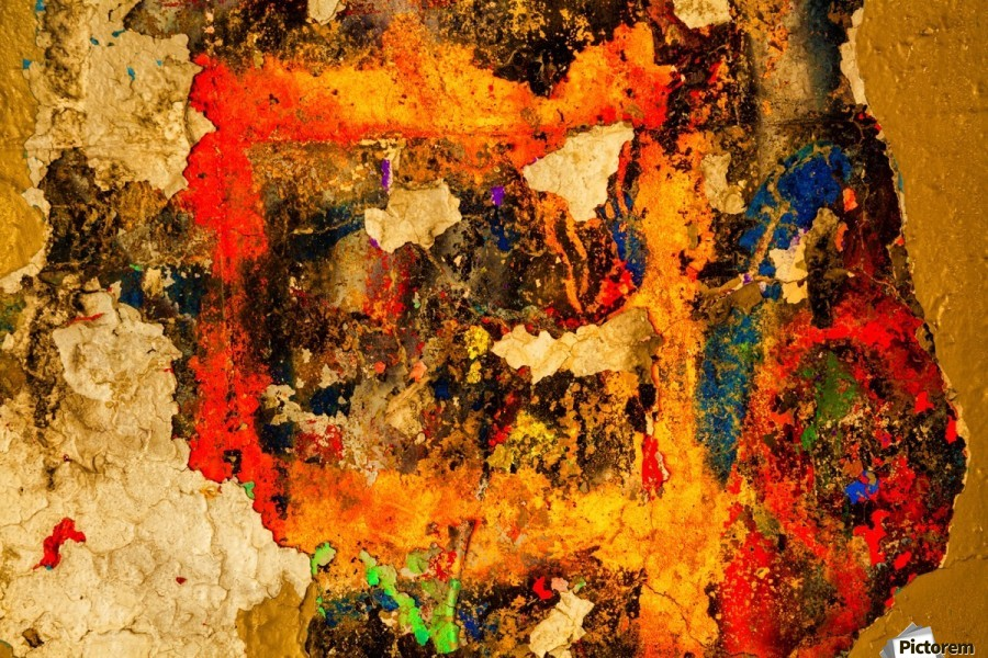 Abstract photo of peeling paint on a concrete wall; Bedford, Nova Scotia, Canada  Print