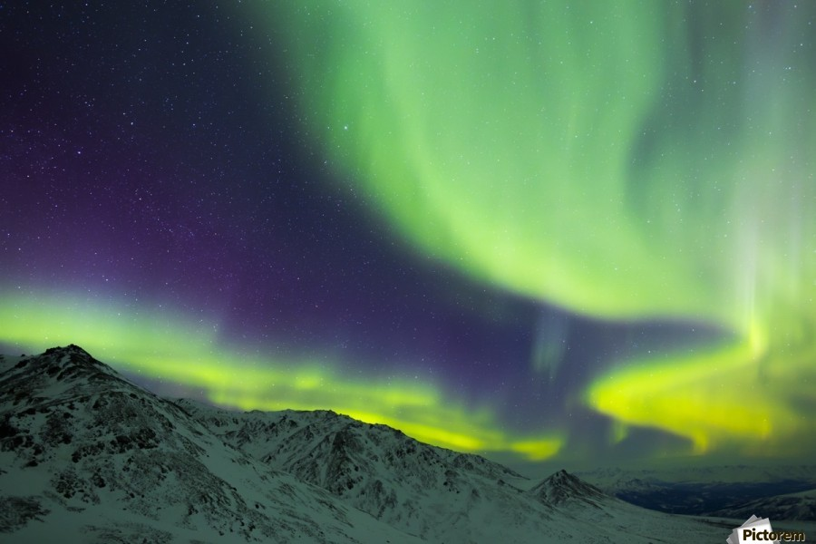 Aurora borealis swirls over mountains within Denali National Park on a very cold winter night; Alaska, United States of America  Print