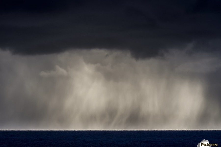 Rain falls over the ocean; Cannon Beach, Oregon, United States of America  Print