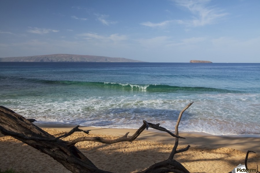 View of Kahoolawe and Molokini Islands from Little Beach at Makena Beach State Park; Maui, Hawaii, United States of America  Print
