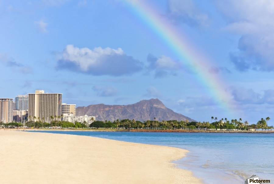 View of Waikiki beach and Diamond Head crater at Ala Moana Beach Park with a rainbow overhead; Honolulu, Oahu, Hawaii, United States of America  Print
