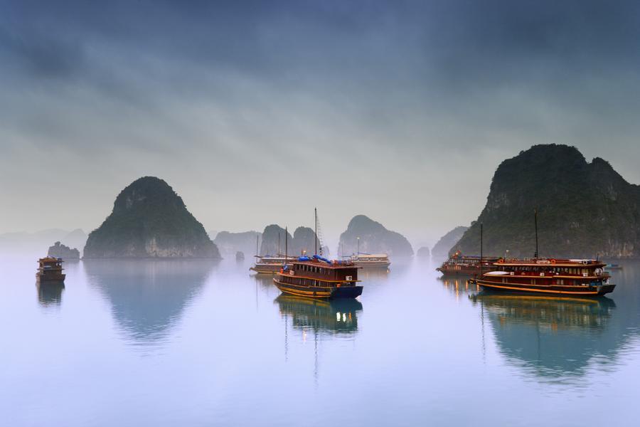 Hotel Junks, Halong Bay, Vietnam  Print