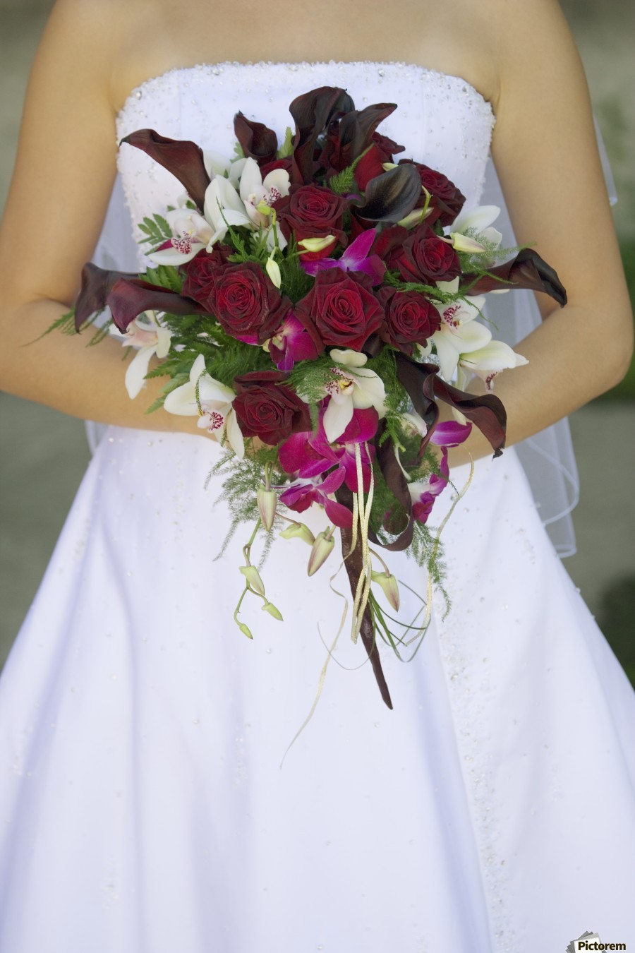 Bride's Bouquet And Wedding Dress  Print