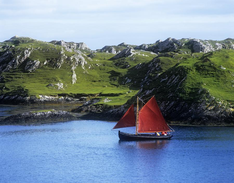 Boat In The Sea, Galway Hooker, County Galway, Republic Of Ireland  Print