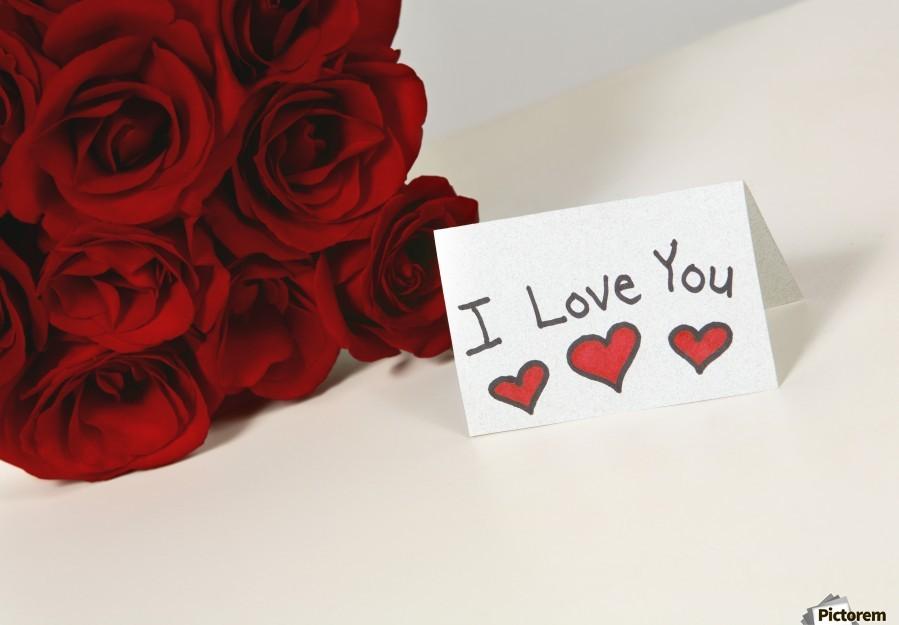 I Love You Card Beside Roses  Print