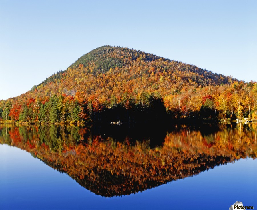 Autumn Colours Reflected In Water, Eastern Townships, Quebec, Canada  Print