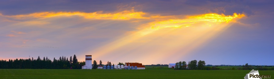 God Beams Over Prairie Farm  Print