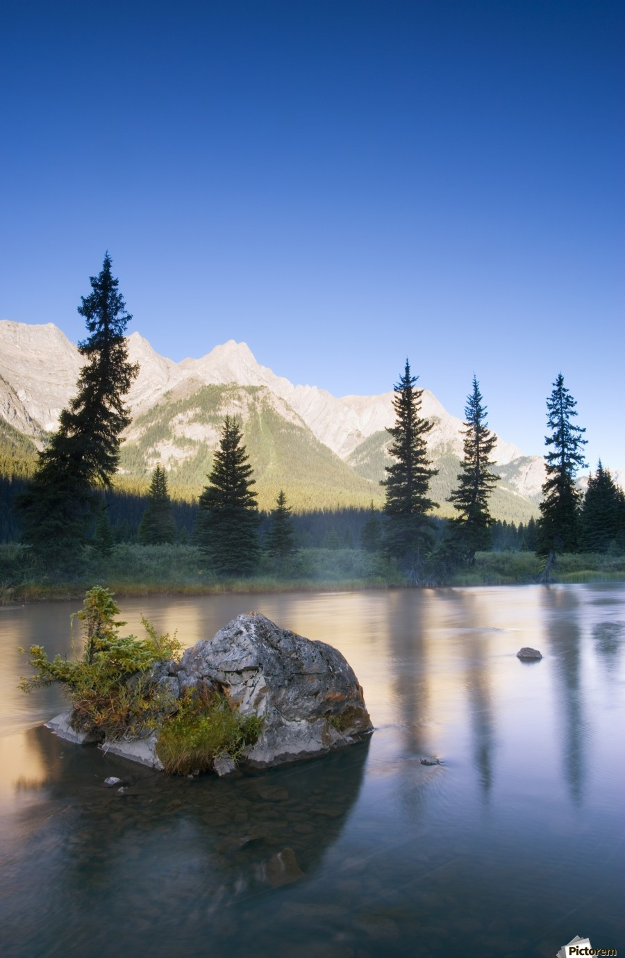 Sunrise And Early Morning Mist On Mountain River  Print