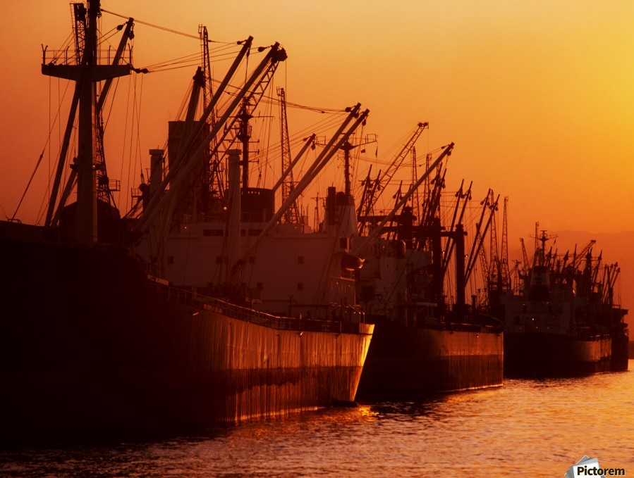 Shipping Freighters At Sunset  Print