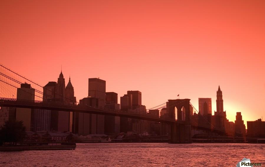 Lower Manhattan Skyline Viewed From Brooklyn Bridge Park, Brooklyn, New York City, New York, Usa  Print