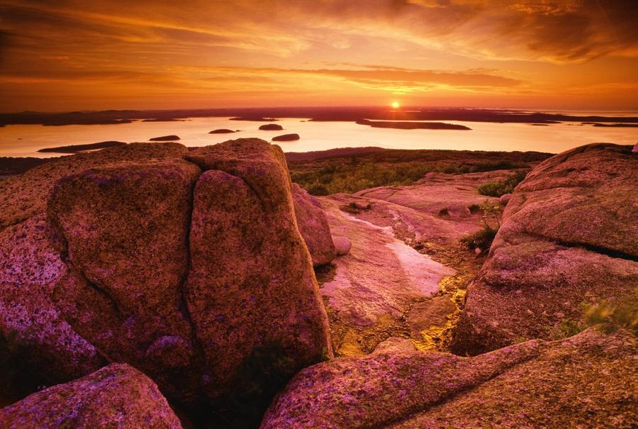 View From Cadillac Mountain At Sunrise, Acadia National Park, Maine, U.S.A  Print
