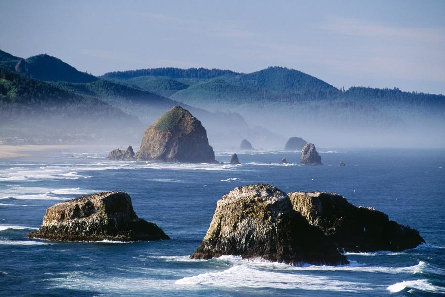 Haystack Rock, The Needles And Sea Stacks, Cannon Beach, Oregon, United States Of America  Print