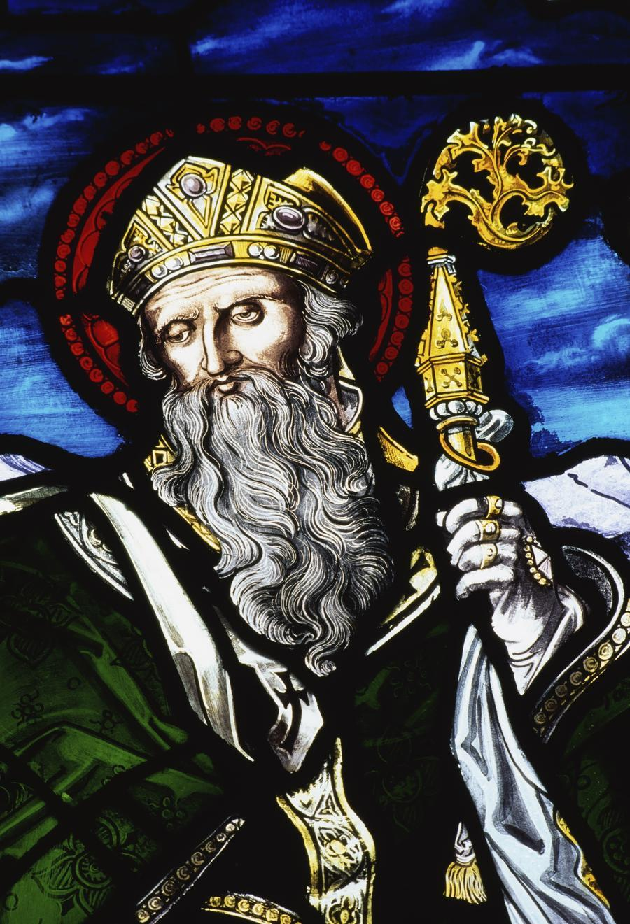 Clogheen, Ireland; St. Patrick On Stained Glass  Print