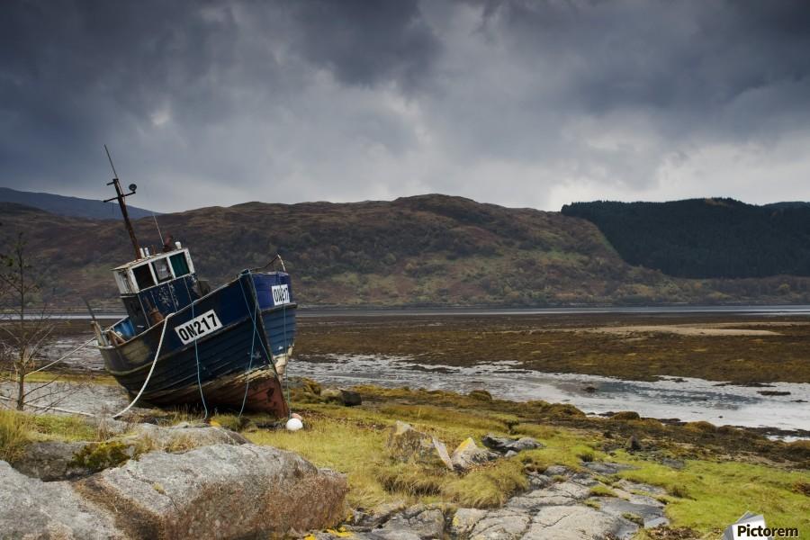 Boat Ashore, Loch Sunart, Scotland  Print