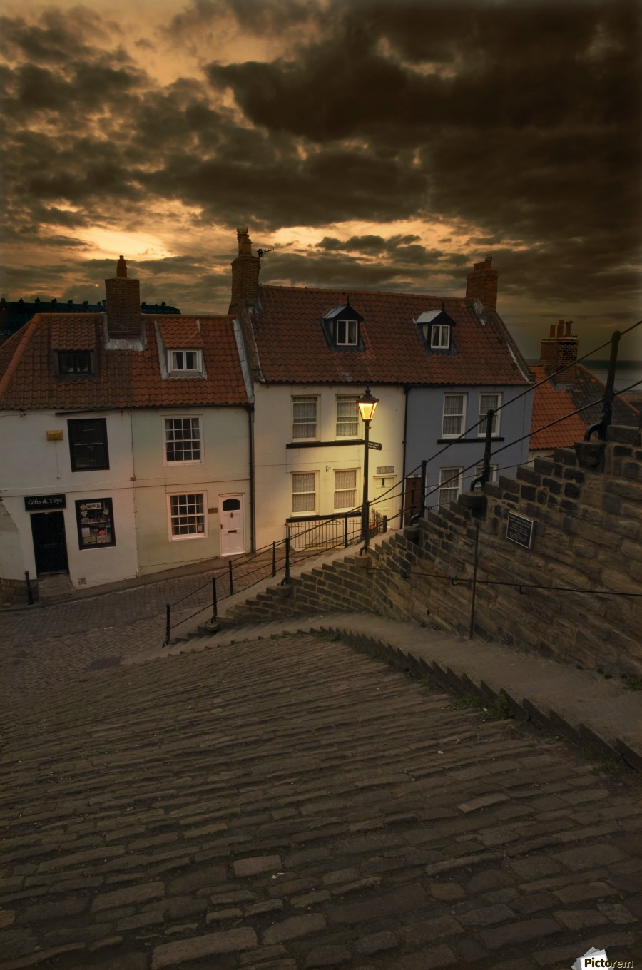 Whitby Village At Night Yorkshire England Pacificstock