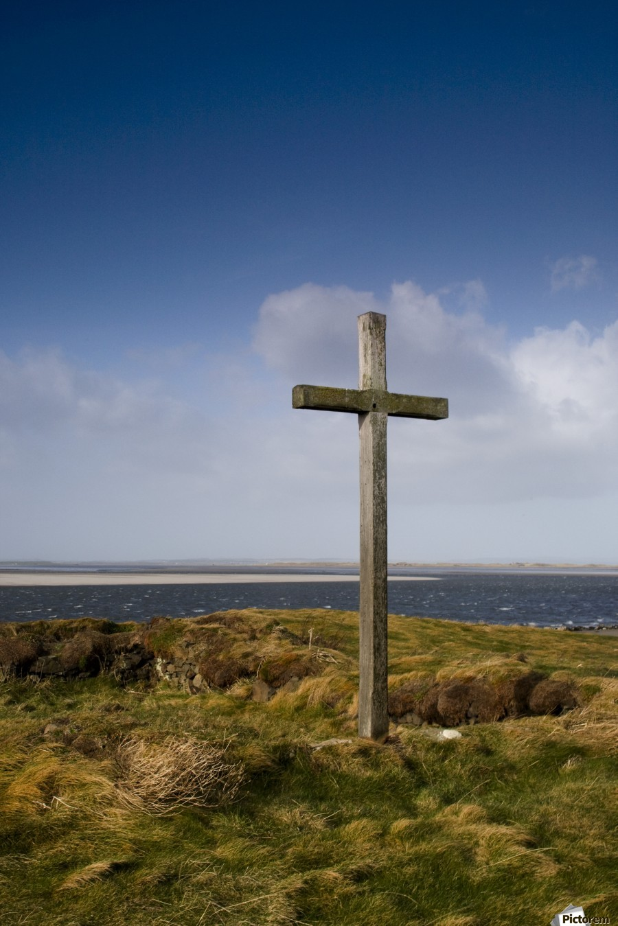 Grave Site Marked By A Cross On A Hill  Print
