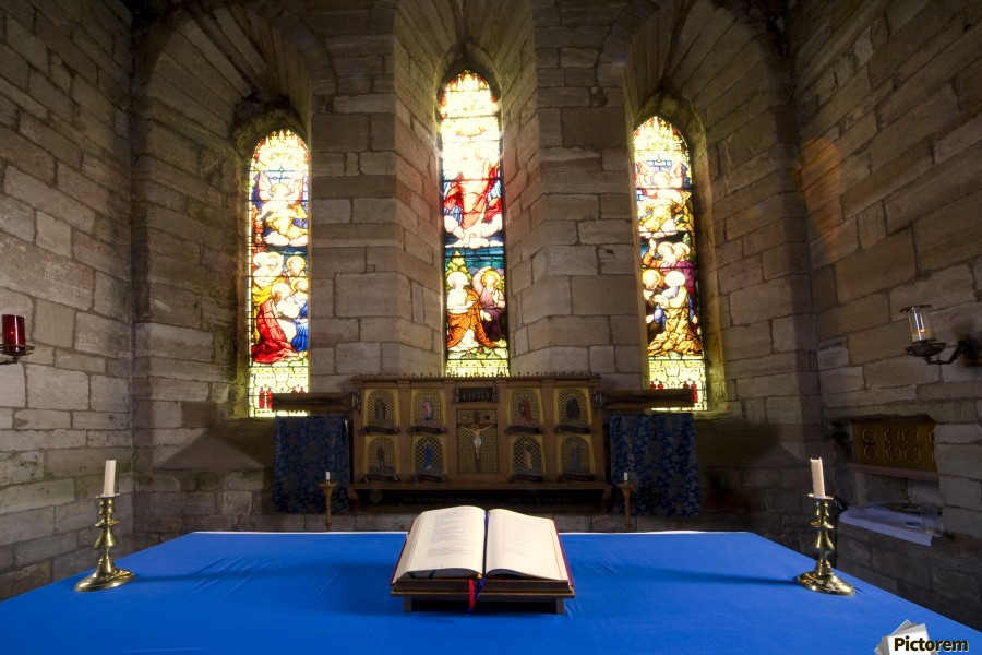 Church And Open Bible, Holy Island, Bewick, England  Print