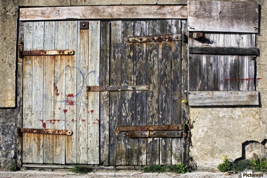 Old Wooden Door Of Building  Print