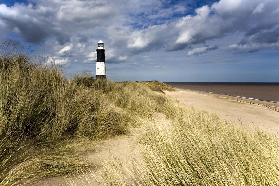 Lighthouse On Beach, Humberside, England - PacificStock Canvas