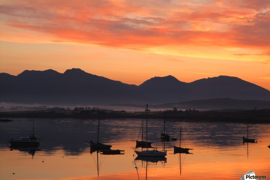 Sunrise At Roundstone Harbour With 12 Bens, Galway, Ireland  Print