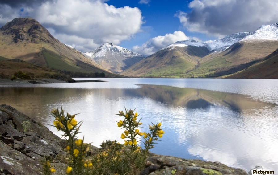 Mountains And Lake, Lake District, Cumbria, England, United Kingdom  Print