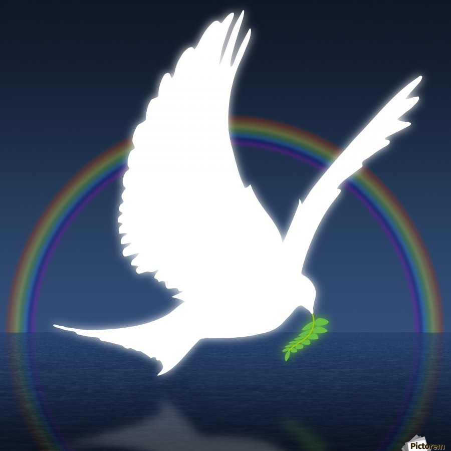 dove holding an olive branch with rainbow in background