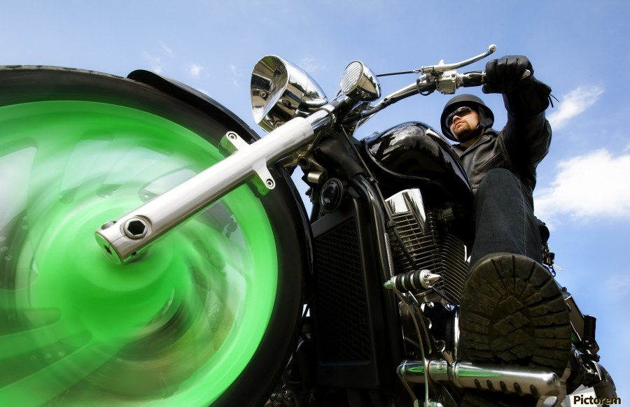 Man Riding A Motorbike  Print