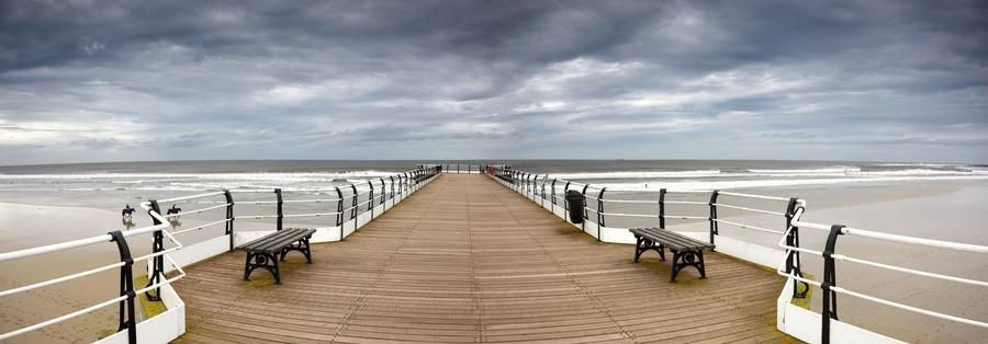 Dock With Benches, Saltburn, England  Print