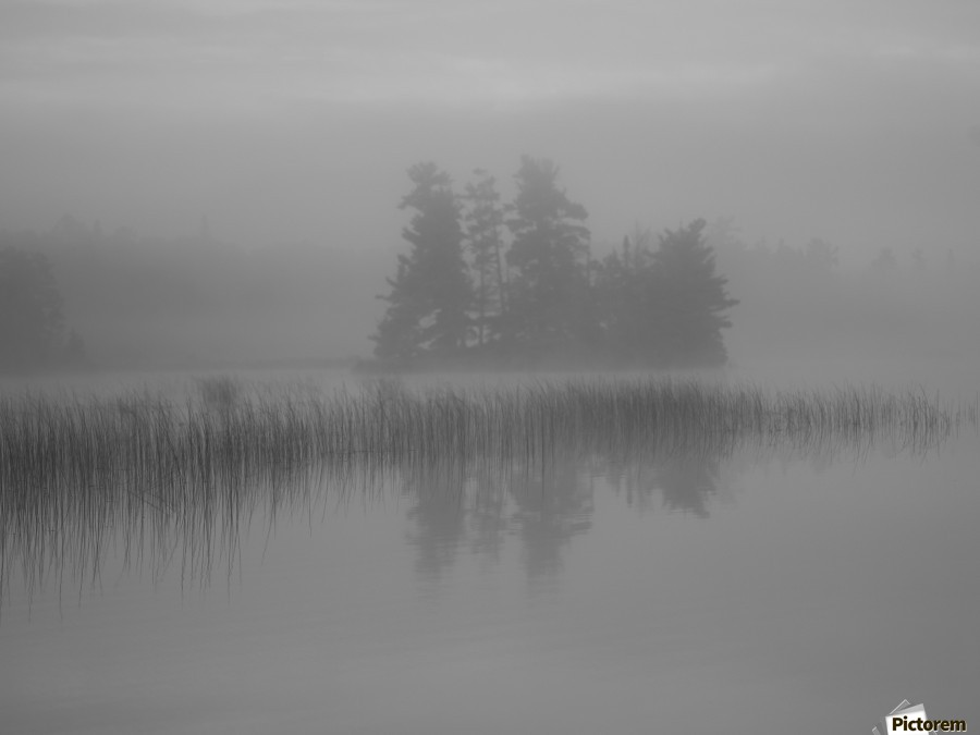 Lake Of The Woods, Ontario, Canada; Mist Rises Over Lake  Print