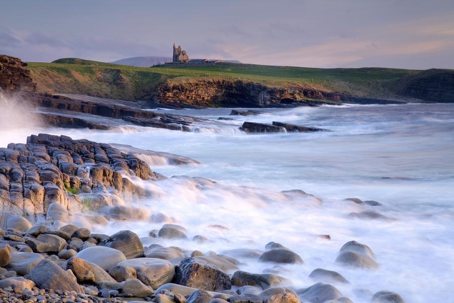 Classiebawn Castle, Mullaghmore, Co Sligo, Ireland; 19Th Century Castle With Ben Bulben In The Distance  Print