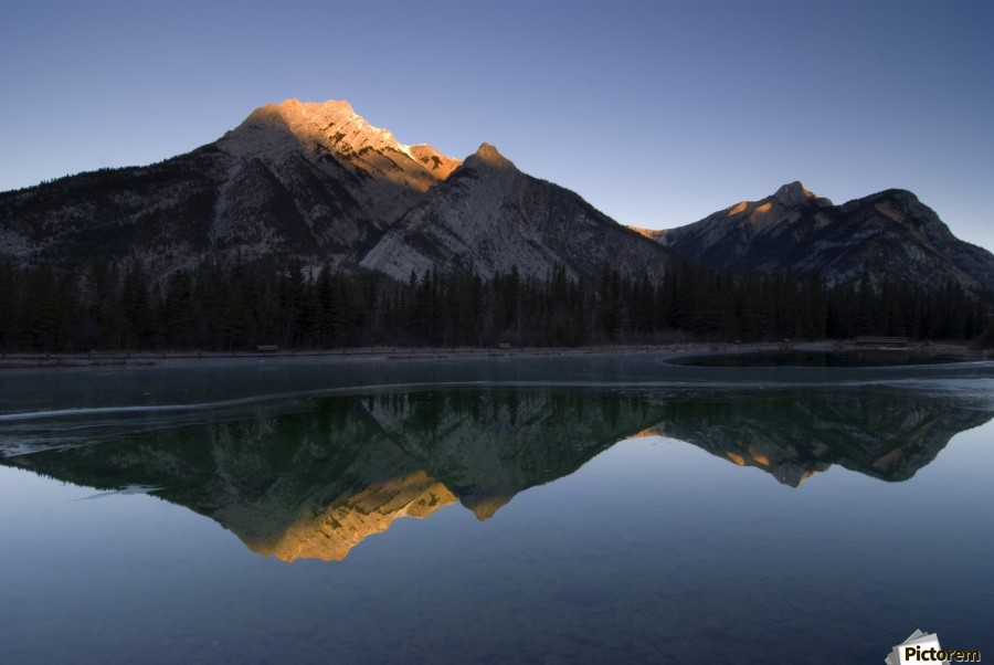 Mirror Image Of A Mountain In Water, Mount Lorette, Kananaskis, Alberta, Canada  Print