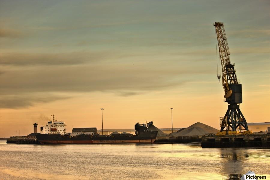 Tyne And Wear, Sunderland, England; Crane At A Shipping Dock  Print