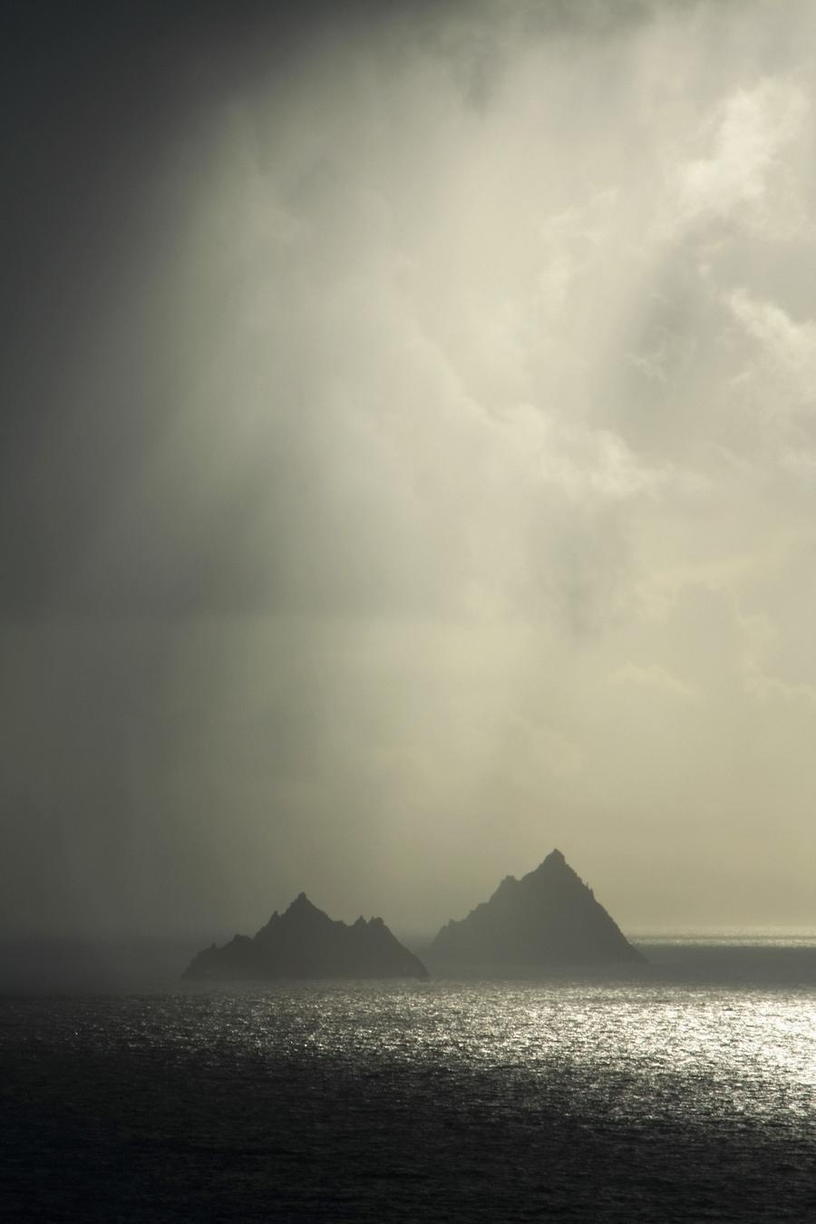 Skellig Islands, Co Kerry, Ireland; Islands In A Rain Shower  Print