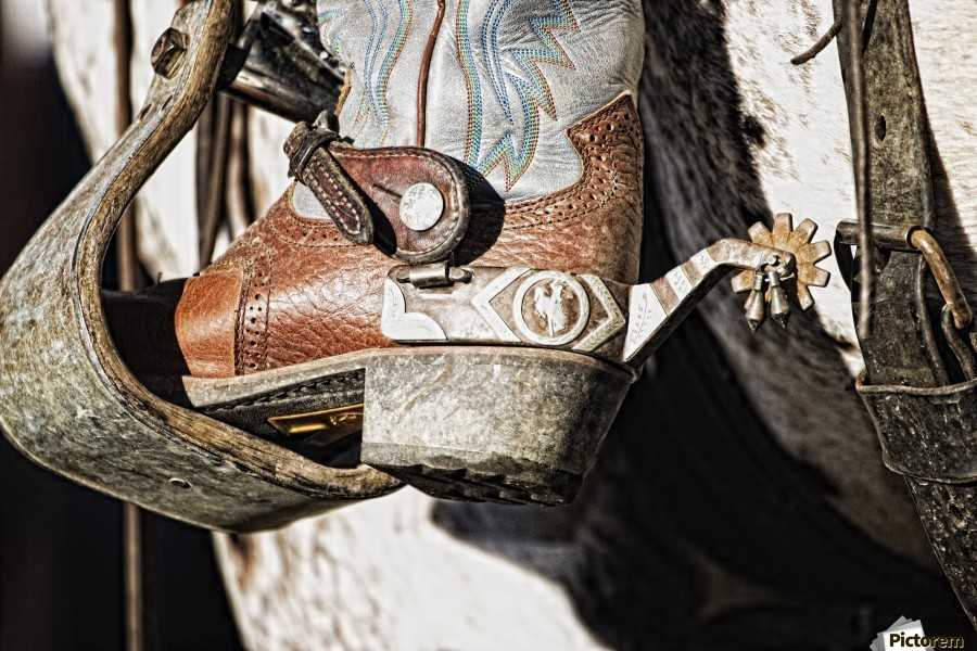 Cowboy Boot Heel And Spur In Saddle Stirrup - PacificStock - Canvas Artwork