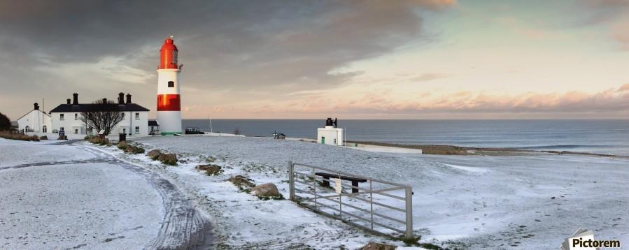 South Shields, Tyne And Wear, England; A Lighthouse And House Along The Coast  Print