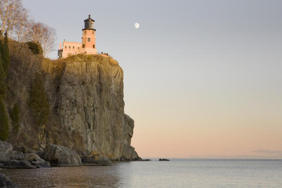 Minnesota, United States Of America; Split Rock Lighthouse On The North Shores Of Lake Superior With A Full Moon In The Sky  Print