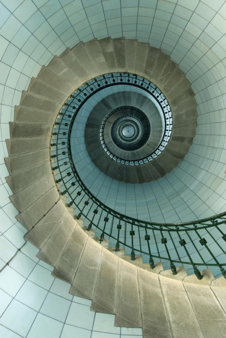 Looking up the spiral staircase of the lighthouse for Circular stair
