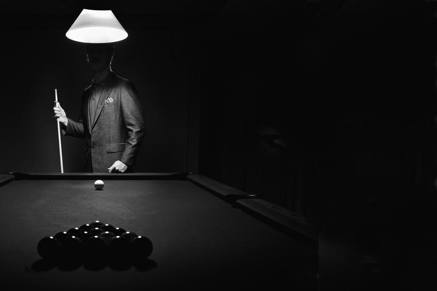 ; Mystery Pool Player Behind Rack Of Billiard Balls  Print