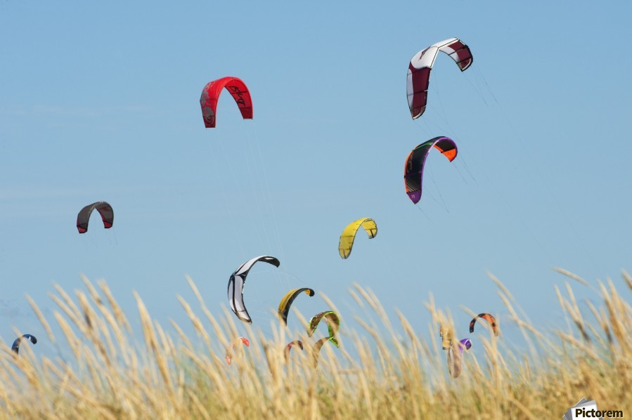 Kites Of Kite Surfers In Front Of Hotel Dos Mares; Tarifa, Cadiz, Andalusia, Spain  Print
