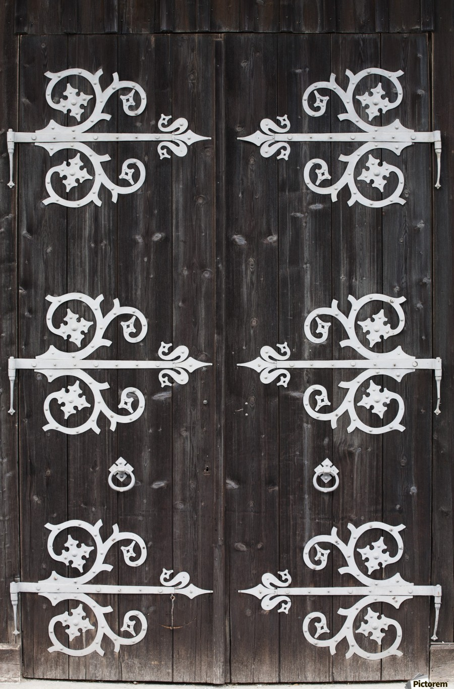 Large Metal Decorative Hinges On A Weathered Wooden Barn Door Fussen Germany Pacificstock