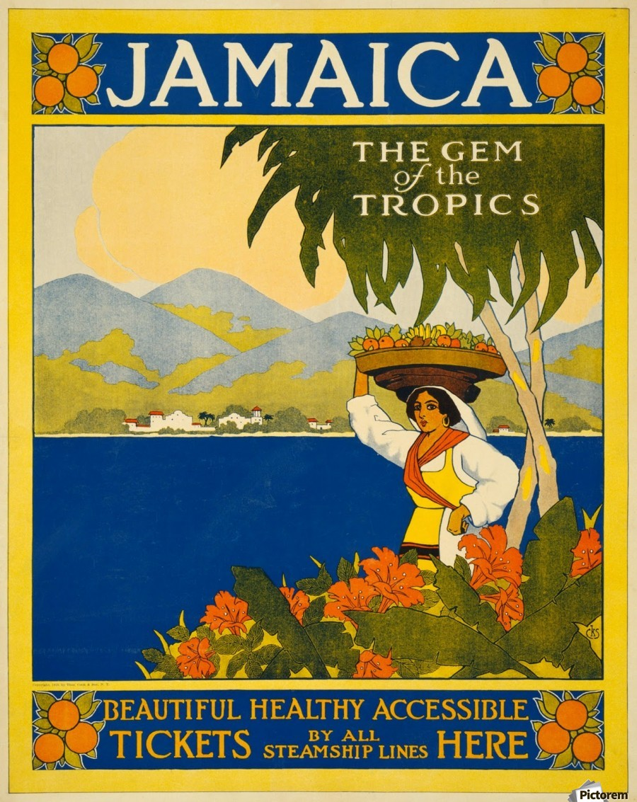 1910 Thomas Cook Jamaica travel poster - VINTAGE POSTER Canvas