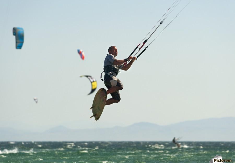 Kitesurfing; Tarifa, Cadiz, Andalusia, Spain  Print